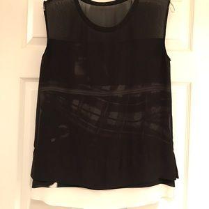 All saints black & white silk blouse sz 6